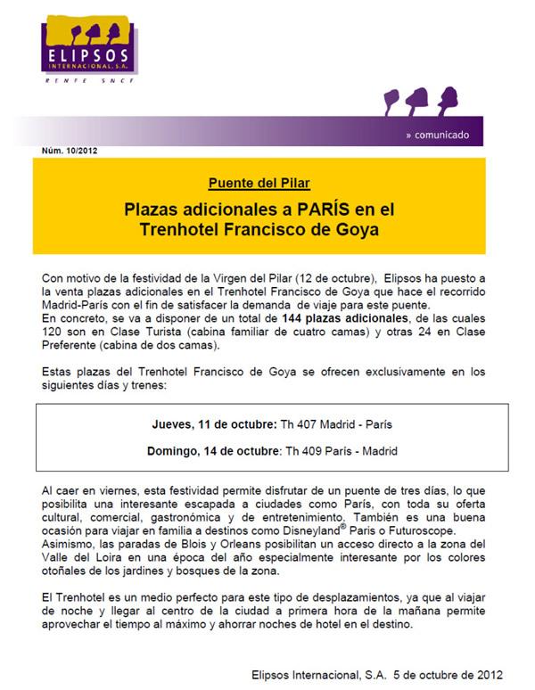 Plazas adicionales en el trenhotel madrid paris para el for Trenhotel de barcelona a paris