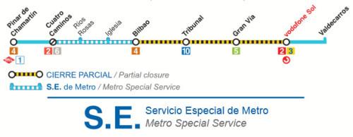 Metro Madrid suspende el servicio entre Bilbao y Vodafone Sol durante todo el verano
