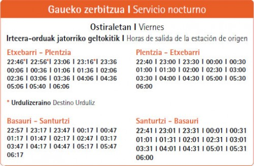 En junio, Metro Bilbao ofrece servicio nocturno las noches del viernes al sábado