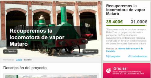 Todo un éxito la campaña de recaudación de dinero para restaurar la locomotora Mataró