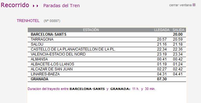 Cambio de horario en el servicio trenhotel barcelona for Trenhotel de barcelona a paris