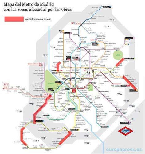 Zonas afectadas durante el verano por las obras del Metro de Madrid