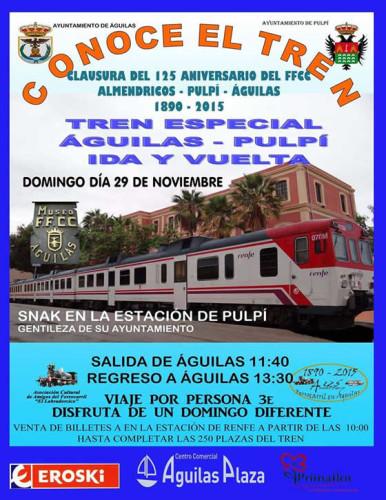 El domingo 29 de noviembre tren especial Águilas – Pulpí – Águilas