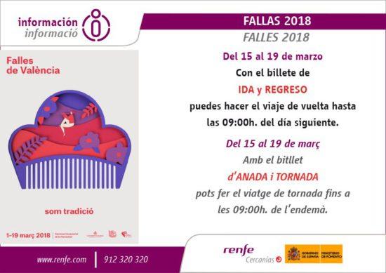 Renfe programa trenes de Cercanías las 24 horas durante las Fallas de Valencia