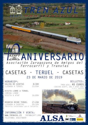 Viaje por el cuarenta aniversario de laAsociación Zaragozana de Amigos del Ferrocarril y Tranvías entre Zaragoza y Teruel
