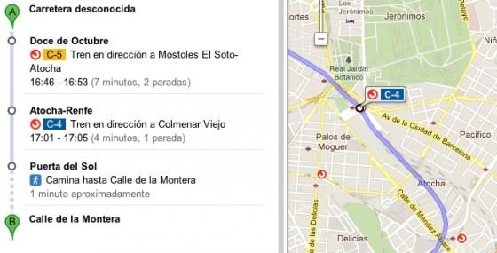 Google Maps Cercanías Madrid