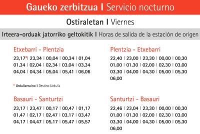 horario nocturno Metro Bilbao