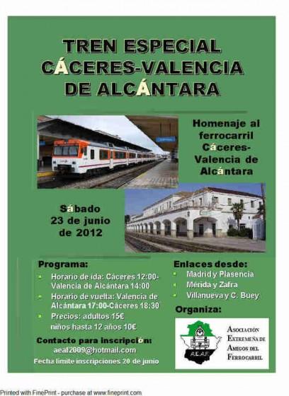 tren especial Cáceres Valencia de Alcántara