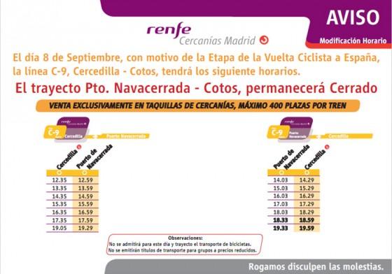 Dispositivo especial de RENFE Cercanías Madrid con motivo de la llegada de la vuelta a España al puerto de Navacerrada
