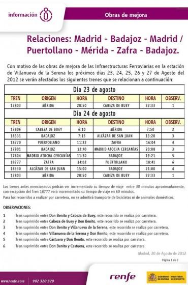 Por obras, plan alternativo de transporte para los trenes del corredor Madrid – Puertollano – Badajoz en agosto