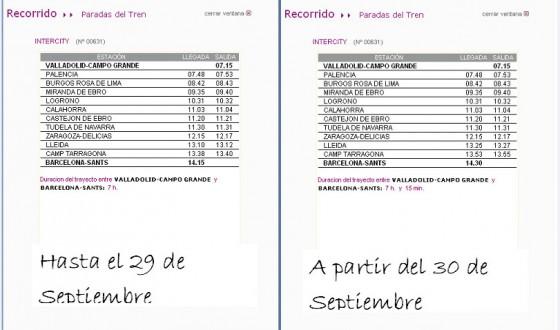 horario Intercity Valladolid Barcelona