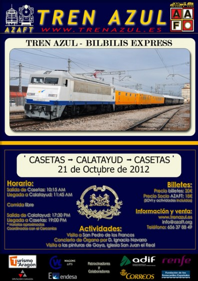 El Tren Azul vuelve a las vías realizando un viaje turístico entre Zaragoza y Calatayud el 21 de octubre