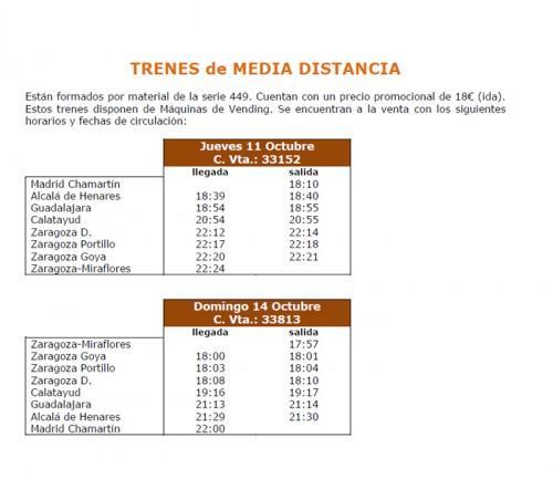 Tren MD especial Fiestas del Pilar