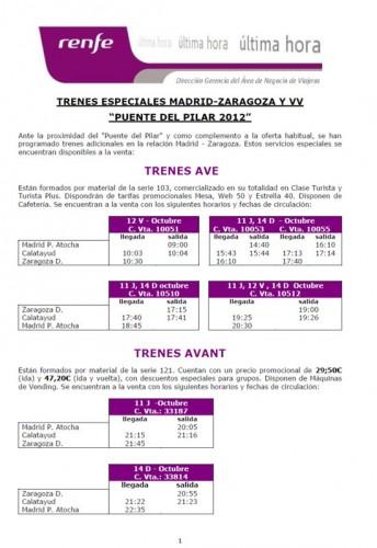 Trenes especiales Madrid Zaragoza Puente del Pilar