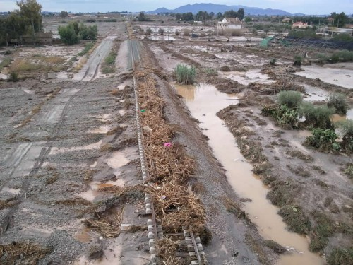 vía Lorca Aguilas inundada