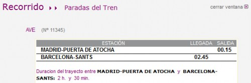 Horario AVE Madrid Barcelona