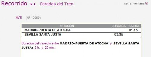 Horario AVE Madrid Sevilla