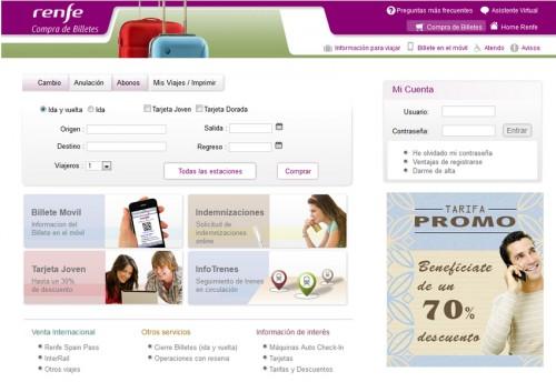 RENFE ofrece, en su página web, información del horario de sus trenes en tiempo real