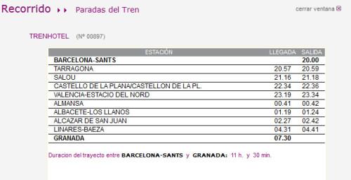 Cambio de horario en el servicio TrenHotel Barcelona – Granada