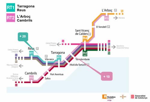 2 líneas formarán el nuevo servicio de Rodalies de Tarragona