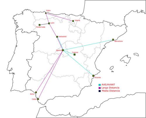 Mapa viajes tren