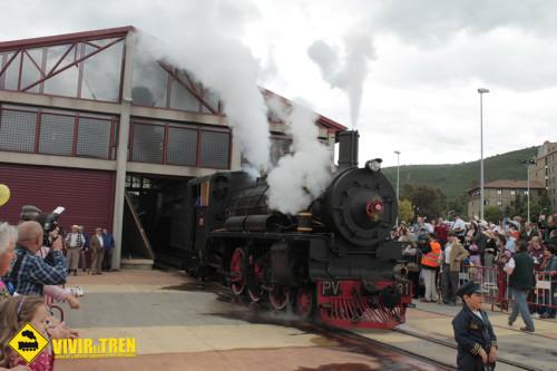 Encendido de la locomotora PV 31 en el Museo del Ferrocarril de Ponferrada
