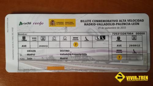 Billete conmemorativo Alta Velocidad Madrid – Valladolid – Palencia – León