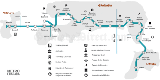 El Metro de Granada echa a andar. Horarios, precios, frecuencias y plano